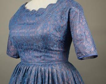 Lavender Blue Vintage 50s Lace Full Skirt Party Dress Curvy L