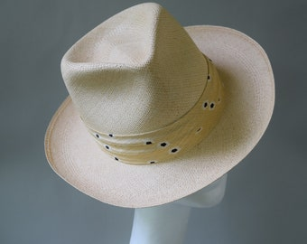 c0ce3bd0e2c390 Natural Straw Vintage 60s Panama Hat Fedora by Stevens