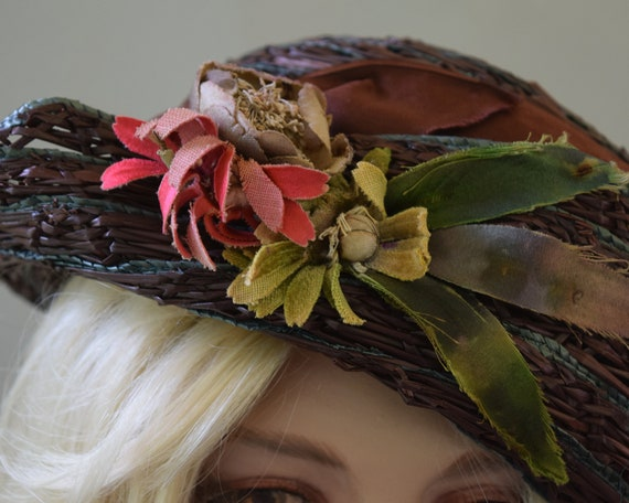 Cocoa Brown Floral Vintage 20s Hat Summer Straw C… - image 8