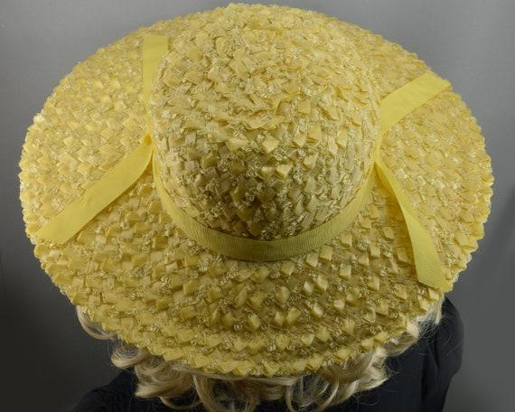 Sunshine Yellow Wide Brim Vintage 60s Straw Hat - image 7