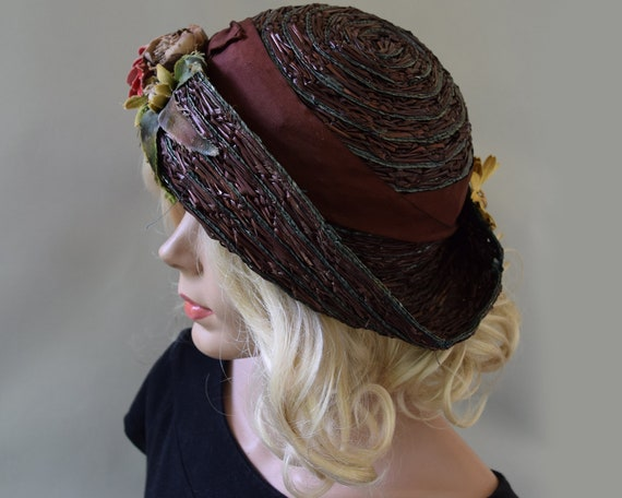 Cocoa Brown Floral Vintage 20s Hat Summer Straw C… - image 5