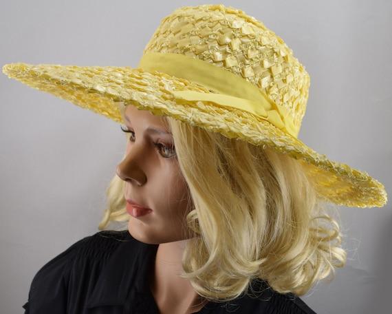 Sunshine Yellow Wide Brim Vintage 60s Straw Hat - image 3