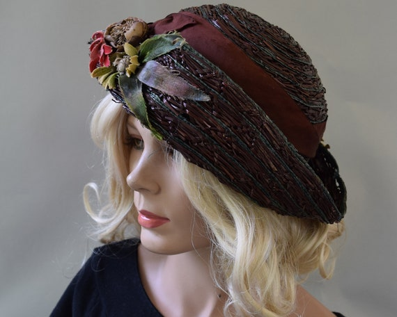 Cocoa Brown Floral Vintage 20s Hat Summer Straw C… - image 4