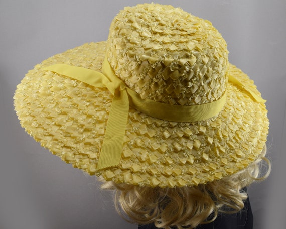Sunshine Yellow Wide Brim Vintage 60s Straw Hat - image 4