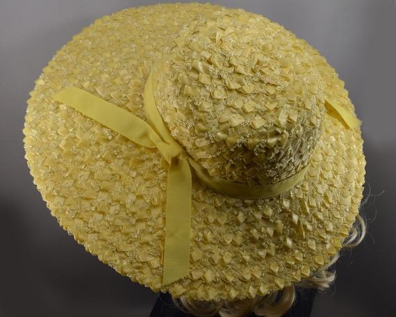 Sunshine Yellow Wide Brim Vintage 60s Straw Hat - image 6
