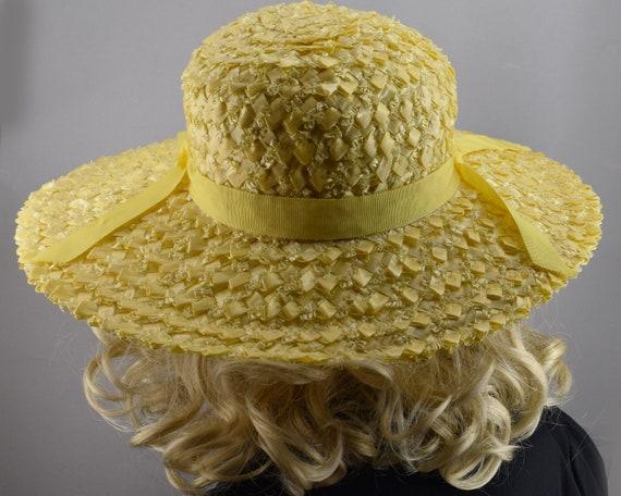 Sunshine Yellow Wide Brim Vintage 60s Straw Hat - image 5