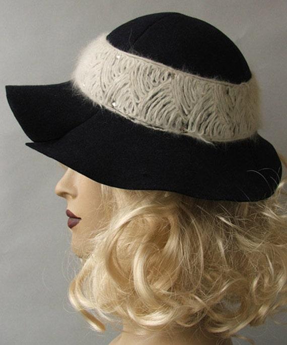 Navy Blue Vintage 40s Wide Brim Fedora Hat with Ca