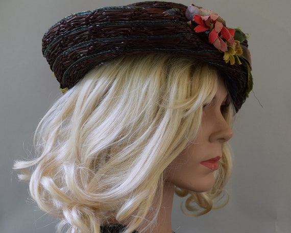 Cocoa Brown Floral Vintage 20s Hat Summer Straw C… - image 10