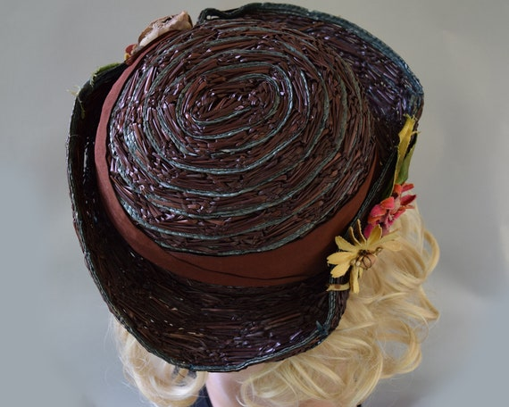 Cocoa Brown Floral Vintage 20s Hat Summer Straw C… - image 7