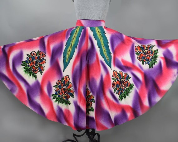 Purple & Pink Floral Vintage 50s Hand Painted Mexi