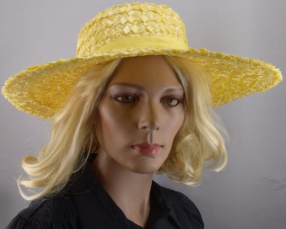 Sunshine Yellow Wide Brim Vintage 60s Straw Hat - image 2