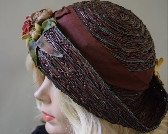 Cocoa Brown Floral Vintage 20s Hat Summer Straw C… - image 1
