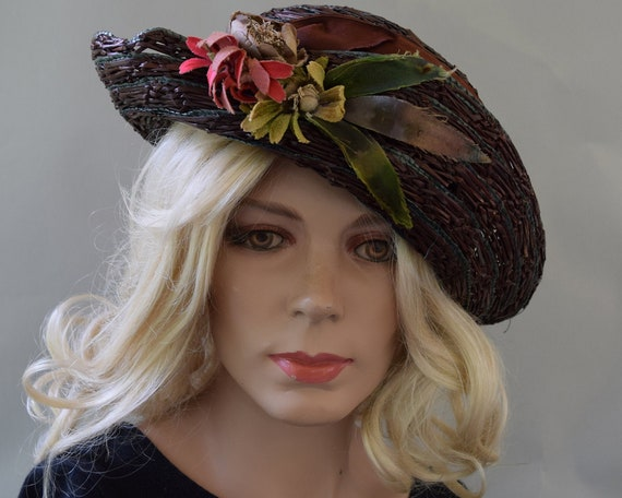 Cocoa Brown Floral Vintage 20s Hat Summer Straw C… - image 3