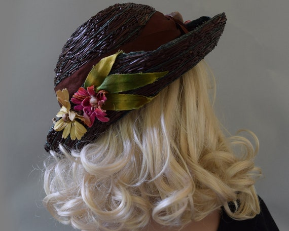 Cocoa Brown Floral Vintage 20s Hat Summer Straw C… - image 6