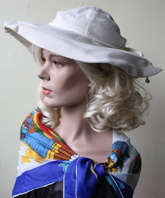 Summer Chic Vintage 70s Wide Brim Hat Cream Linen
