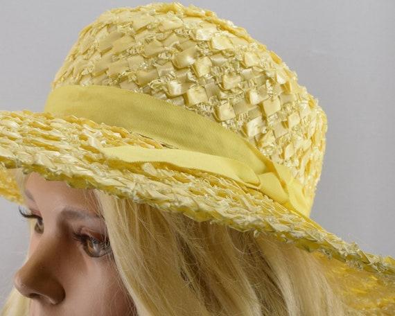 Sunshine Yellow Wide Brim Vintage 60s Straw Hat - image 10