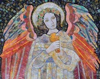 "The Angel and the Cross, signed 8"" X 10 "" art print, created with 7th and 8th grade girls"