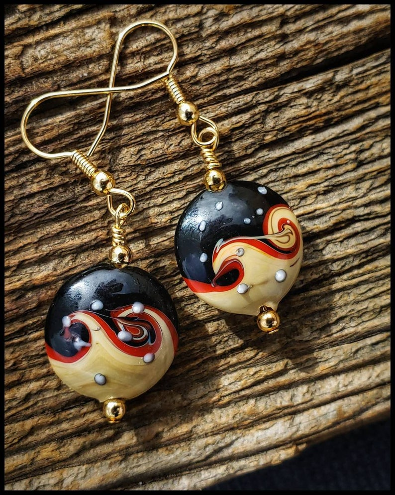 Handcrafted  Painted Porcelain Art Bead Earrings with Gold Plate Accent Beads Gold Fill Open French Hooks.