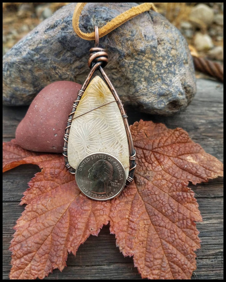 Coral Cabochon In a Rustic Cold Forge Wire Wrap Fusion Style of Copper Bohemian Wanderlust Zen Amulet