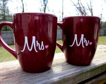 Mr. and Mrs. Coffee Mug Set | Perfect Couple Gift | Burgundy Coffee Mugs