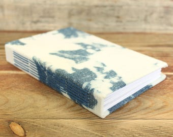 Bleached Denim Fabric Journal - Blank Pages - Made using reclaimed denim fabric - Travel Journal