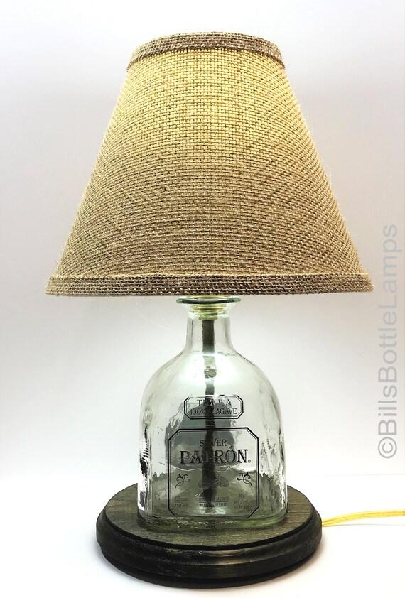 Patron Silver Liquor Bottle LAMP PACKAGE with Burlap Shade, White LED Bulb, Table Lamp, Desk Light, Bar, Lounge