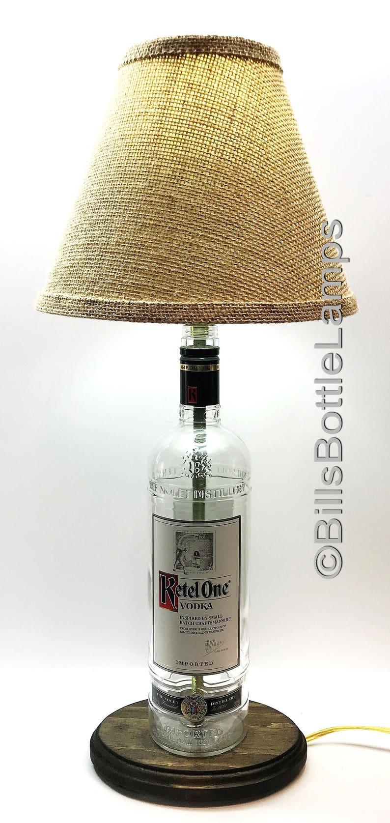 Ketel One Vodka Liquor Bottle TABLE LAMP with Wood Base Desk Accent Light Man Cave Lighting Pub Lounge Decor Home Bar