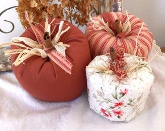 Stuffed Pumpkins, 3 Fabric Pumpkins, Pumpkin Shelf Sitters, Thanksgiving Decor, Harvest Decorations Pumpkin Ornies, (#10) Ready to Ship