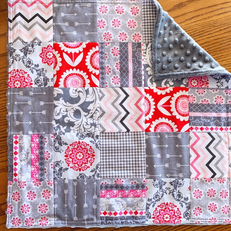 Patchwork Doll Quilt Set 18 Doll Bedding in Gray and Red Girl Christmas Gift Pink and Gray Doll Bedding for AG Doll Handmade Ready to Sh