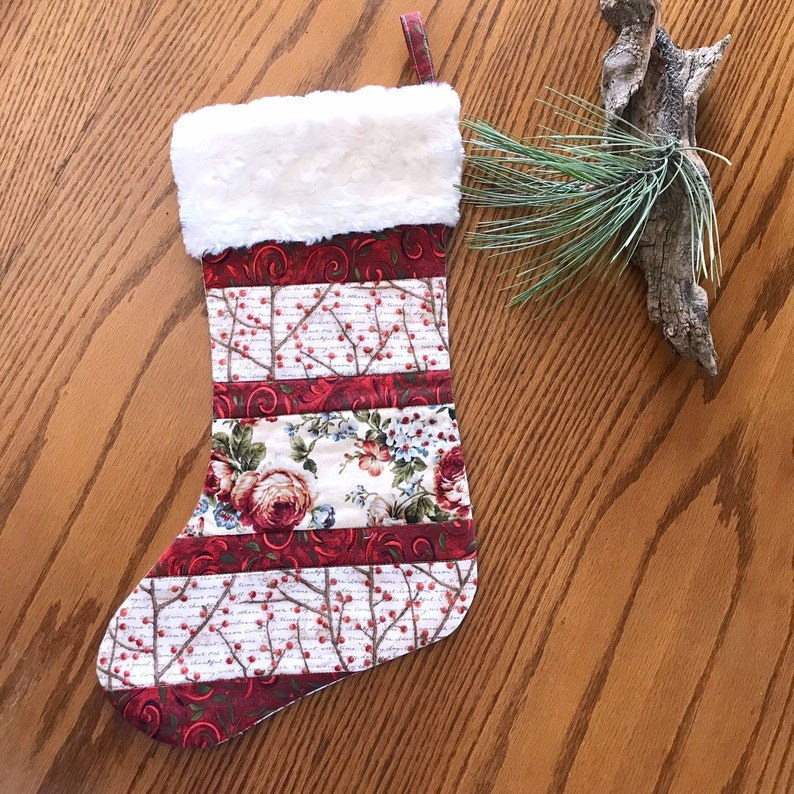 Handmade Stocking Beautiful Quilted Christmas Stocking with Winter Berries and Cabbage Roses Lined Stocking Ready Festive Christmas Sock