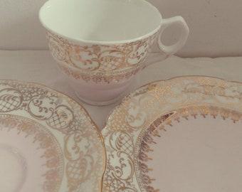 Very Pretty Royal Stafford English Bone China Baby Pink Tea Set Trio with gold gilding, afternoon tea