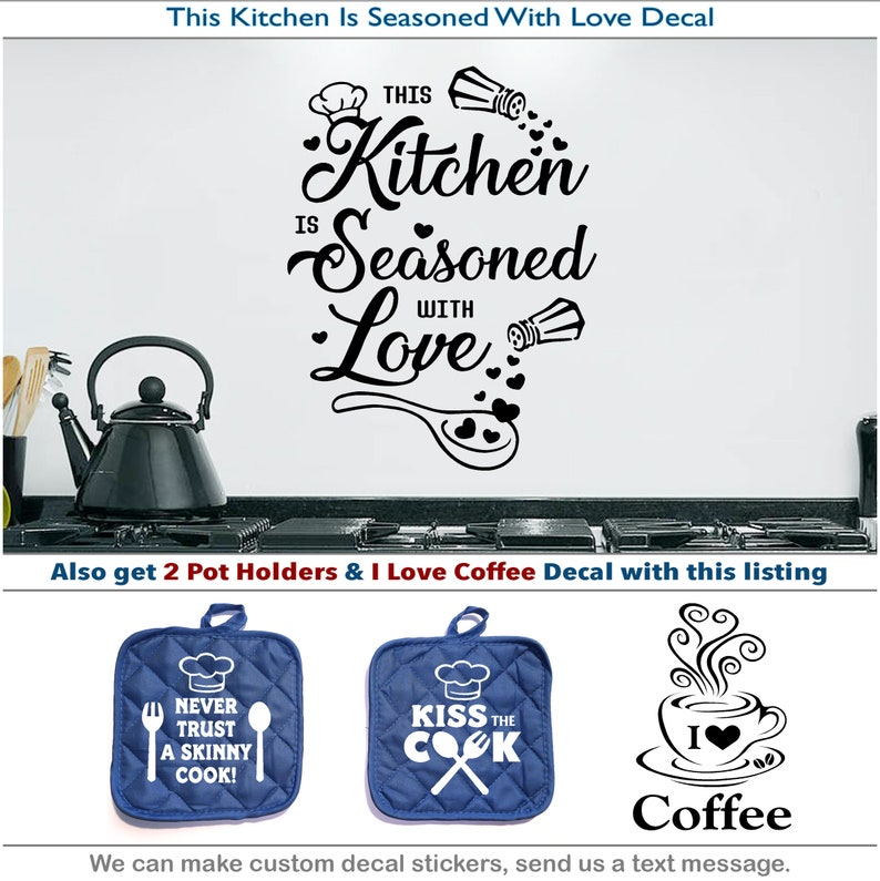 Kitchen Seasoned Love Coffee Kiss Cook Pot Holder Hearts Sticker Vinyl  Decal 060