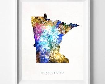 Minnesota Map Print, Saint Paul Print, Minnesota Poster, Watercolor Painting, Map Art, Wall Decor, Travel, Home Decor, Fathers Day Gift
