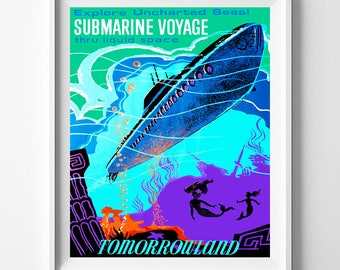 Submarine Voyage, Disneyland Print, Disneyland Art, Vintage Disneyland, Giclee, Tomorrowland, Disney Print, Disney Poster, Valentines Day