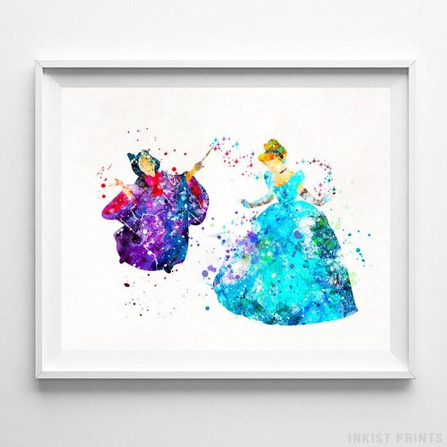 Fairy Godmother Cinderella Print Watercolor Art Cinderella | Etsy