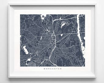 Worcester Map, Massachusetts Print, Worcester Poster, Massachusetts Art, Art Print Shop, Art Prints, Kids Room Decor, Fathers Day Gift