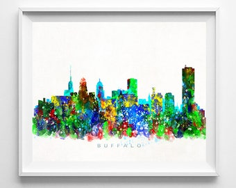 Buffalo Skyline Print, New York Print, New York Poster, Cityscape, Watercolor Painting, City Poster, Art, Home Decor, Fathers Day Gift