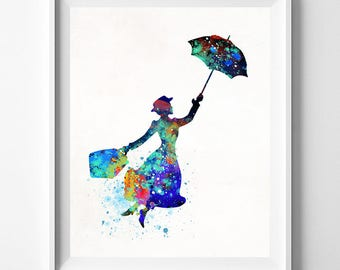 Mary Poppins, Mary Poppins Art, Mary Poppins Print, Watercolor Art, Julie Andrews, Nursery Decor, Baby Gift, Type 1, Fathers Day Gift