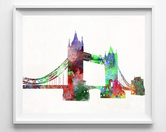 Tower Bridge Print, Tower Bridge Art, Tower Bridge Poster, London Art, Watercolor Art, England Print, Living Room Decor, Fathers Day Gift