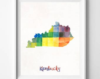 Kentucky Map Print, Frankfort Print, Kentucky Poster, State Art, Watercolor Art, Wall Decor, Map Print, Travel Poster, Fathers Day Gift
