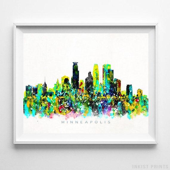 Minneapolis Skyline Print Minnesota Wall Art Cityscape | Etsy