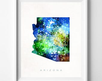 Arizona Map Print, Phoenix Print, Arizona Poster, Watercolor Painting, Map Art, Wall Decor, Travel Poster, Home Decor, Fathers Day Gift