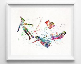 Peter Pan Art Print Disney Watercolor Decor Watercolour Gift Idea Painting Type 3 Valentines Day