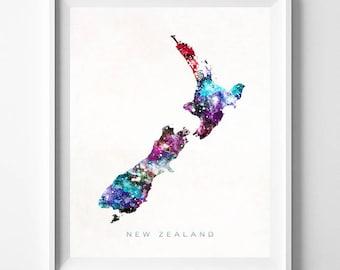 New Zealand Map Print, Wellington Print, New Zealand Poster, Wellington Map, Watercolor Map, Wall Hanging, Home Decor, Christmas Gift