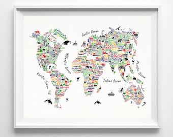 Typography, World Map, Art Print, World Map Poster, Typography Art, Nursery Decor, Travel Poster, Home Decor, Type 1, Christmas Gift