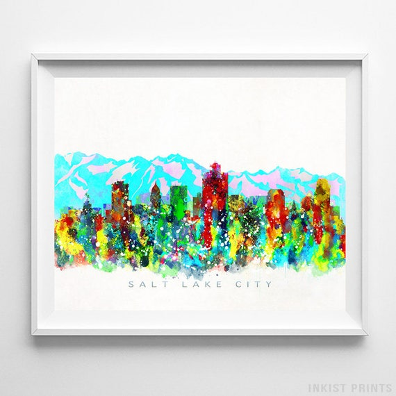 Salt Lake City Skyline Print Watercolor Painting Utah Art Etsy