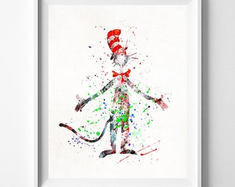 Dr. Seuss Poster, Dr. Seuss Gift, Dr. Seuss Art, Doctor Seuss, Cat in the Hat, Watercolor Art, Nursery Posters, Fathers Day Gift