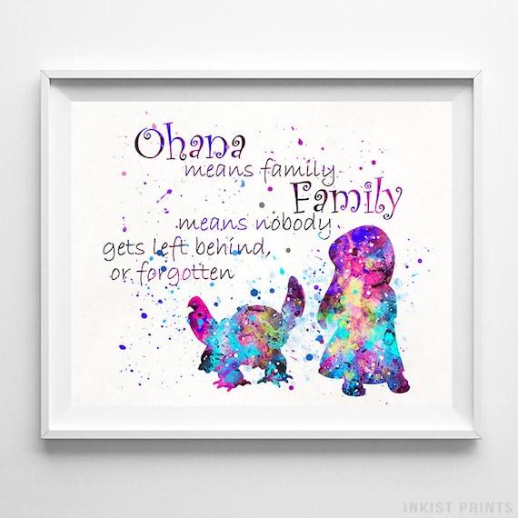 Stitch Art Lilo Poster Print Ohana Quote