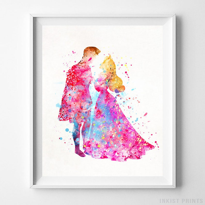Sleeping Beauty Art, Princess Aurora, Prince Philip, Disney Watercolor,  Aurora Print, Disney Art, Nursery Wall Art, Type 2, Valentines Day