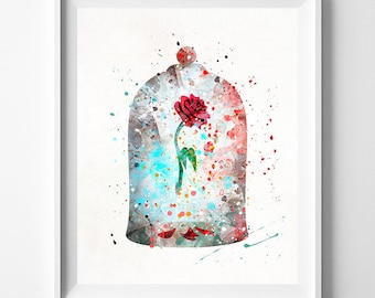 Cursed Rose Print, Beauty And The Beast, Enchanted Rose, Watercolor Art, Disney Poster, Baby Wall Decor, The Enchanted Rose, Fathers Day